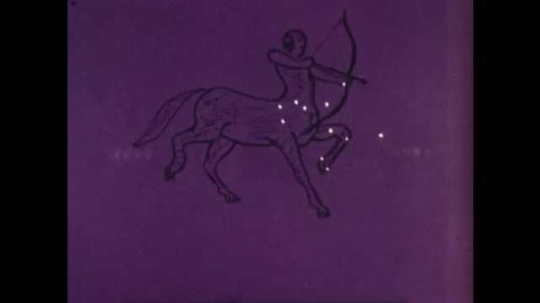 1960s: Drawing of Sagittarius constellation around stars, then Capricornus. Ancient Greek men stand on temple steps, sun sets, stars appear. Drawing of Scorpius constellation appears, man points.