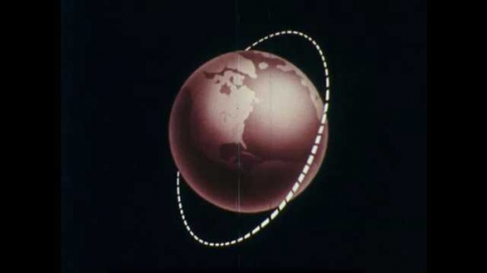 1960s: Dotted line circumferences animated drawing of earth. Line changes orbit around earth.