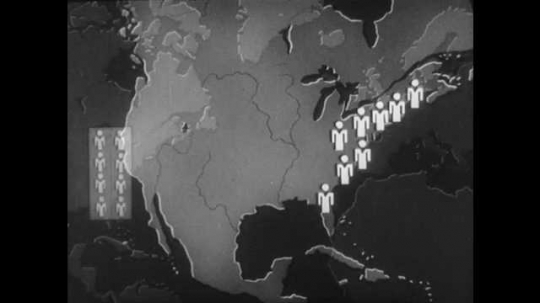 1940s: Map of World. Illustrated box of icons over North America. Light shines from England to United States. Multiple lines appear from Europe and Africa to United States. Dates appear over map.