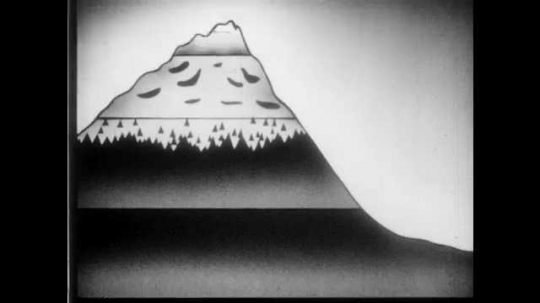 1940s: Diagram of mountain, indicating different zones above and below Timber Line.