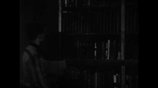1950s: Boy takes book from shelf, flips through book.