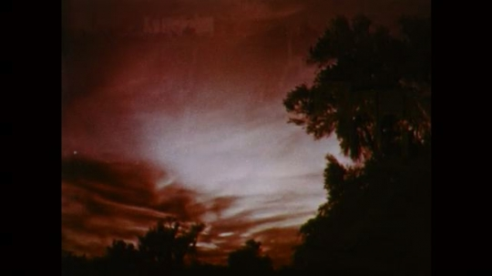 1950s: UNITED STATES: time lapse sunset over trees. Red sky and clouds. Night time in city. Lights across city at night
