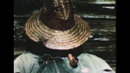 1950s: A man lifts a straw hat off his face and stands up. He walks through a wooden fence and the gate falls down. He replaces it and it falls again.