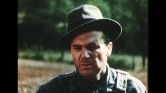 1950s: man with hat and dirty face talks in farm field. tall grass blows in wind.