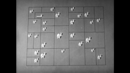 1950s: Animation of houses on plots of land, outline of United States appears. Animation of farms appearing on map.