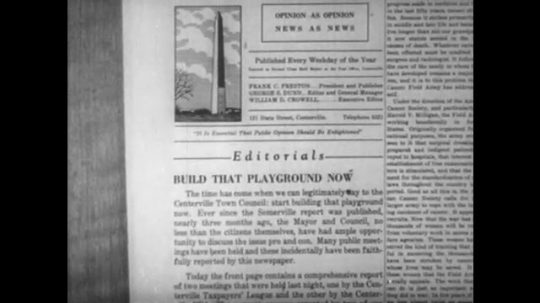 1950s: Editorial in newspaper about playground. Publication information in newspaper,