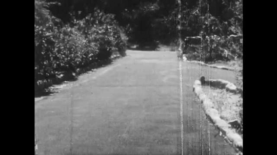 1950s: Long driveway. Box of comics slides down driveway. Box bounces off retaining wall. Shoelaces untie themselves. Nails fall from board.