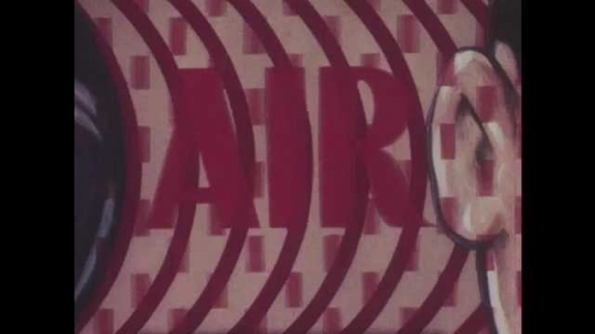 1940s: Animation of waves that move to the right into ear to illustrate sound with the text