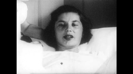1950s: UNITED STATES: lady pushes down during contractions. Doctor desensitizes vaginal opening. Muscles stretch during child birth