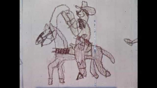 1960s: UNITED STATES: drawing of cowboy on horse. Indians on horses