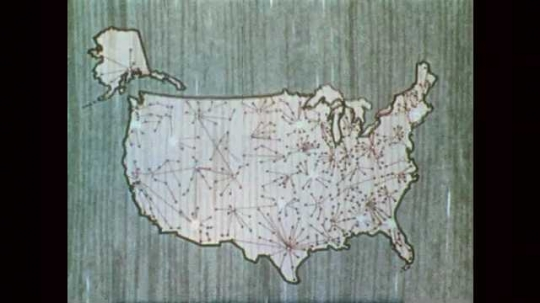 1950s: UNITED STATES: Map of USA. Location of emergency shelter sites across USA. Test Demonstration title and alarm drawing
