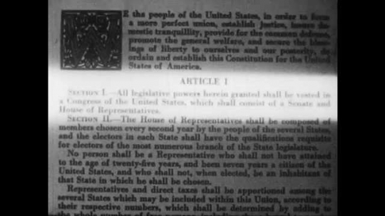 1940s: Article 1, Section 1 is highlighted. Man reads out loud. Section VIII appears.