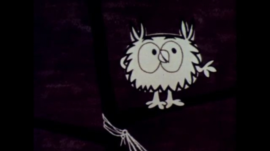 1960s: Animation: Owl talks. Man in robe strolls, talks. Owl talks, swings around branch. Man talks to owl by hammock swing, gestures with hands, falls down.