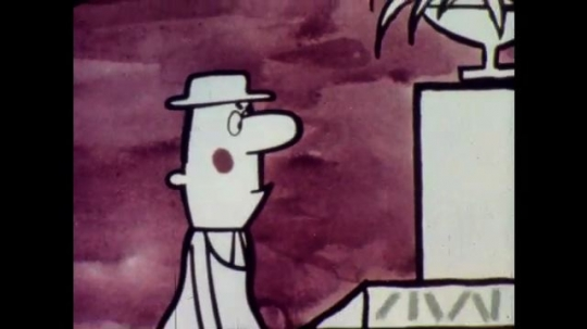 1960s: Animation: Man gestures at woman at cashier