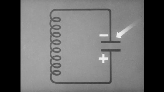 1940s: UNITED STATES: animation of circuit board and flow. Positive and negative symbols on circuit. Tank circuit.