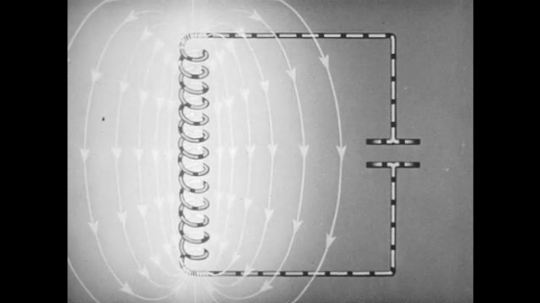 1940s: UNITED STATES: animation of energy flow within circuit.