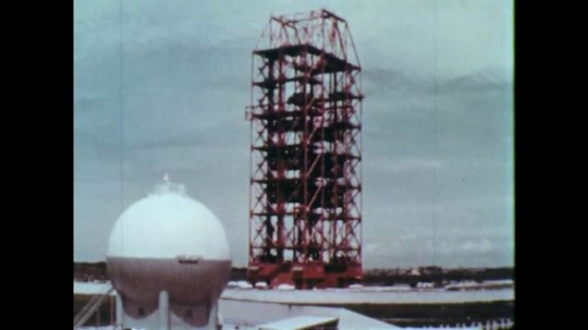 1960s: Cape Canaveral Launch Complex 34. Liquid oxygen storage tank and tower.