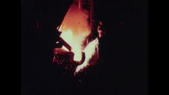 1950s: Hot, liquid metal is poured in foundry. Hot metal is pressed in machine. Machine cuts metal.