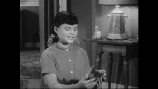 1950s: Young girl sits talking in living room, kitten in hands. Man and woman on couch smile, put away plates, man brings out Bible.