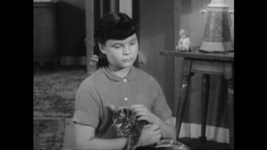 1950s: Young girl in living room holds kitten in lap, talks earnestly. Father talks, nods from couch.