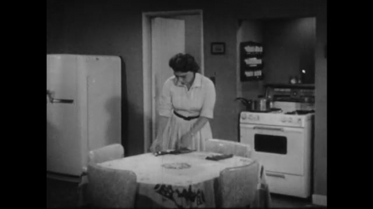 1950s: Wife sets table in kitchen, husband enters, eats from pot, woman turns, talks, man looks up, puts lid on pot.