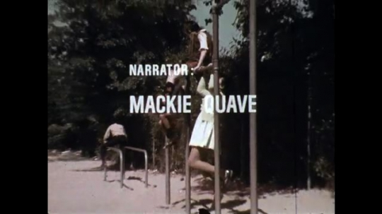 1970s: End credits over children playing on jungle gym. Narrator Mackie Quave. Film production by S.C. EDTV or South Carolina Educational TV.