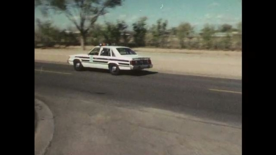 1970s: Police car drives down street with lights and sirens on, follows pickup truck. Pickup truck pulls onto the side of the road, police car follows. Man walks backward with hands on head.