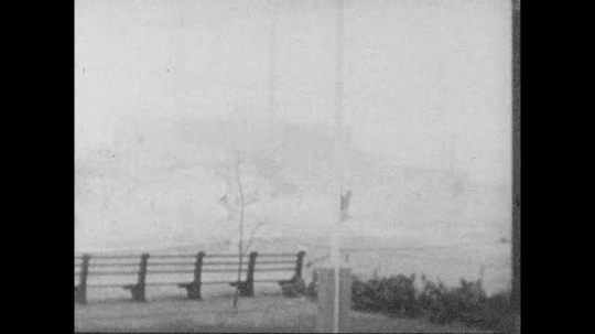 1950s: Hurricane force winds blows on the seaside. Palm trees bend in hurricane force winds. Winds blow water off flooded roads outside of Palm Theater.
