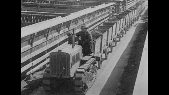 1920s: A man driving a tractor tows carts of manure through a stockyard. Intertitle.