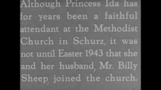 1930s: Intertitle reading Princess Ida attended Schurz Methodist Church with husband Billy Sheep. Ida and her husband in front of a worn trailer. Intertitle about the diet of the early Paiute people.