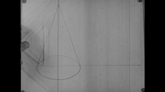 1960s: Person draws line through drawing of cone on paper, draws dashes at angle away from cone, draws another line away from cone, shades in shadow area.