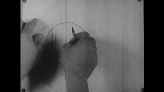 1960s: Person draws dashes through center of circle, along bottom of circle and at angle away from circle.