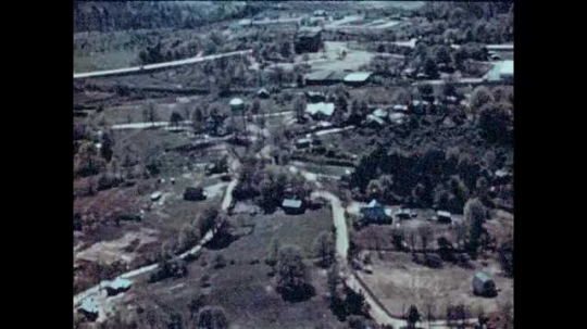 1940s: UNITED STATES: overhead view of rural town in America. Town in Georgia, America. Roads from above.