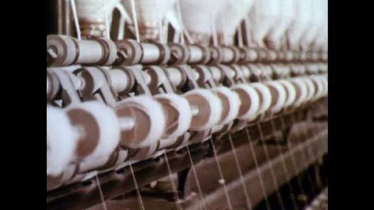 1960s: Many spools of cotton in textile manufactory. Cotton spools being woven. Cotton loom, threads being woven at right angle. Machinery in textile plant. Cotton loom in motion.