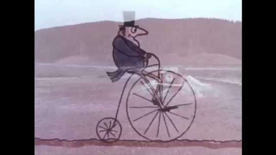 1970s: Cartoon man rides penny-farthing bicycle in rain, stops at saloon, dismounts, enters saloon. Rain stops, man emerges from saloon, gets on bike with beer mug, drinks beer and rides bike away.