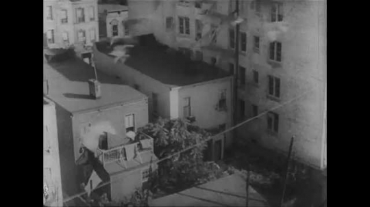 1930s: Pan of pigeons flying over rooftops. Low angle view, paper falling from windows. Pigeons flying. High angle view of street, paper falling in foreground.