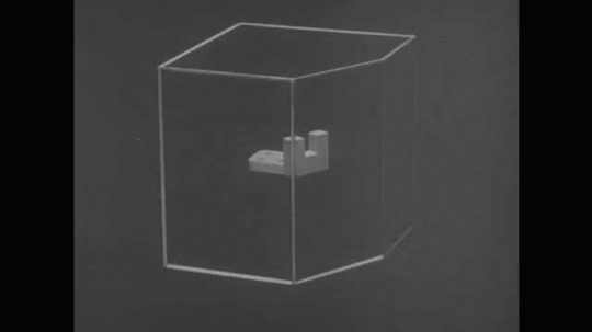 1950s: UNITED STATES: object inside imaginary box. Auxiliary plane and view of object