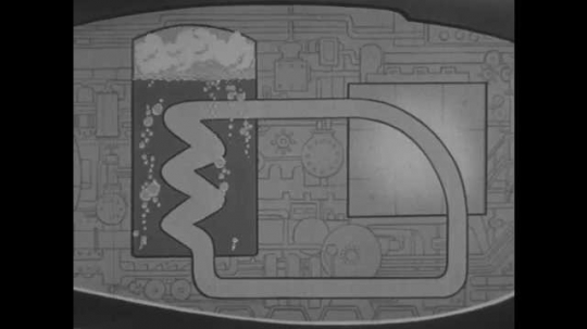 1950s: Animated diagram of tubing in nuclear powered submarine with questions marks to represent fluid.