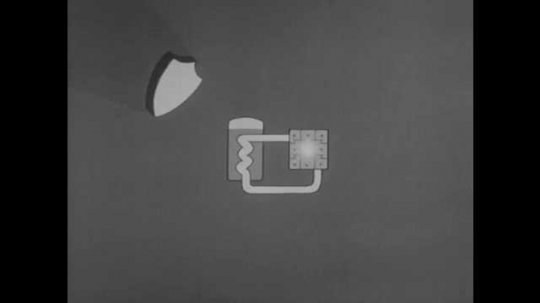 1950s: Animation of shield above nuclear engine and enclosing the engine. Engine is lowered into submarine. Question marks pop up all around submarine.