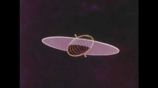 1950s: UNITED STATES: plane of moon's orbits in space. Lunar month. Waves in lunar cycle.