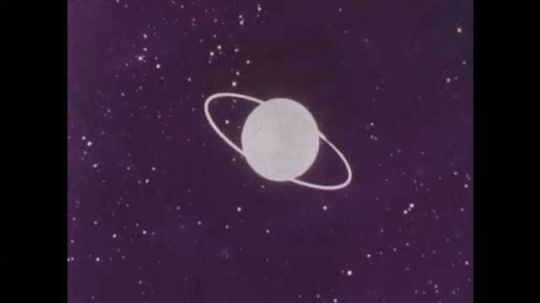 1950s: UNITED STATES: rocket and lunar probe held in orbit by moon.