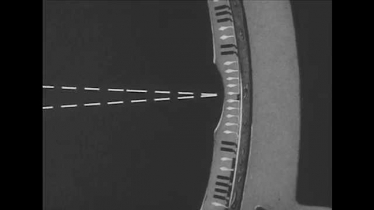 1940s: Animated diagram of how light travels through a human eye.