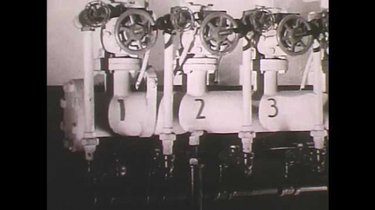 1950s: Automatic sprinklers.  Sprinkler head.  Sprinkler system puts out roaring fire.