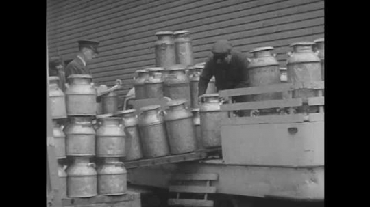 1950s: Man places milk cans on conveyor belt. Man records milk on clipboard. Men work in dairy plant. Men lift cheese onto shelves. Men fork hay into machinery. Men on tractor pull combine.