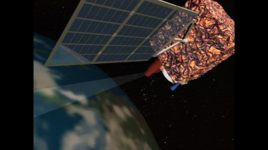 UNITED STATES: 1990s: geostationary satellite in space. Computer animation of weather data collection
