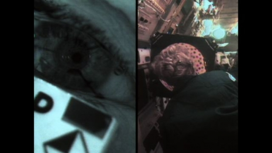 UNITED STATES: 1990s: astronaut puts head in rotating dome in space. Eye reaction in astronaut