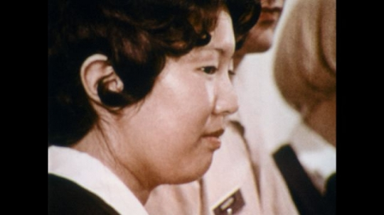 UNITED STATES: 1970s: close up side profile of lady