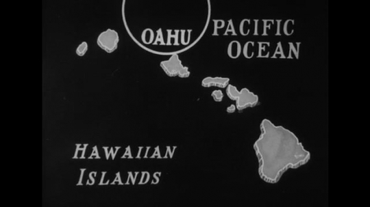 United States: 1940s: Animated map of Hawaii, Oahu, and Pearl Harbor.