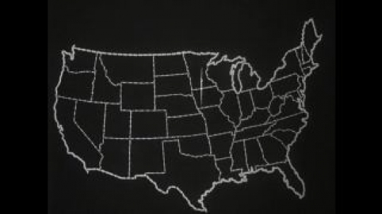 UNITED STATES 1950s: Drawing of the USA with a star effect appearing that highlights Nebraska. A black and white static shot of cars travelling in both directions along a busy road