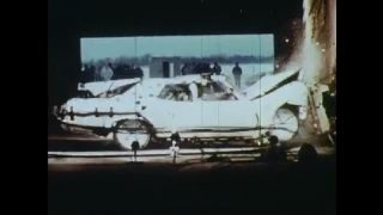 UNITED STATES: 1960s: test crash centre. Slow motion crash